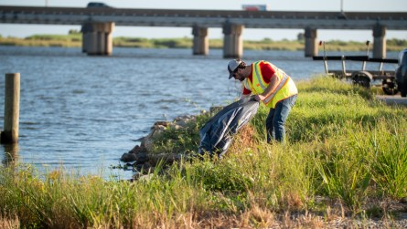 Volunteers across Mobile and Baldwin counties pick up trash during the Alabama Coastal Cleanup. (Dennis Washington / Alabama NewsCenter)