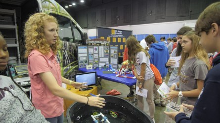 Students learn about career opportunities from the Dauphin Island Sea Lab. (Dennis Washington / Alabama NewsCenter)