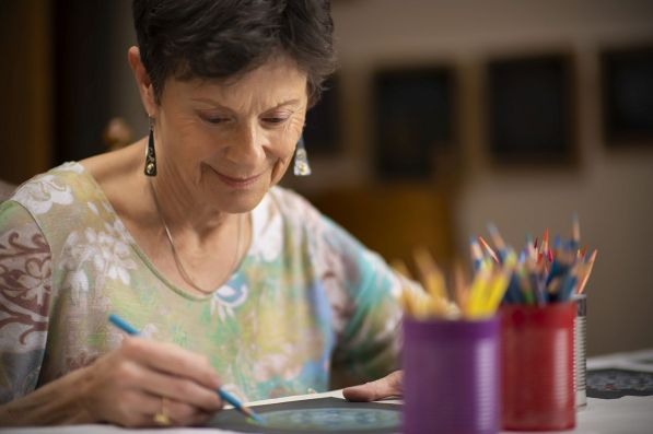 Sketching keeps Cook's mind on creating and staying busy. (Phil Free/Alabama NewsCenter)
