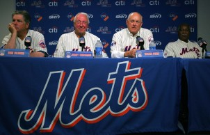 """""""Miracle Mets"""" members, from left, Tom Seaver, Jerry Koosman, Nolan Ryan, and Cleon Jones speak at a press conference commemorating the New York Mets 40th anniversary of the 1969 World Championship team. (Jared Wickerham/Getty Images)"""