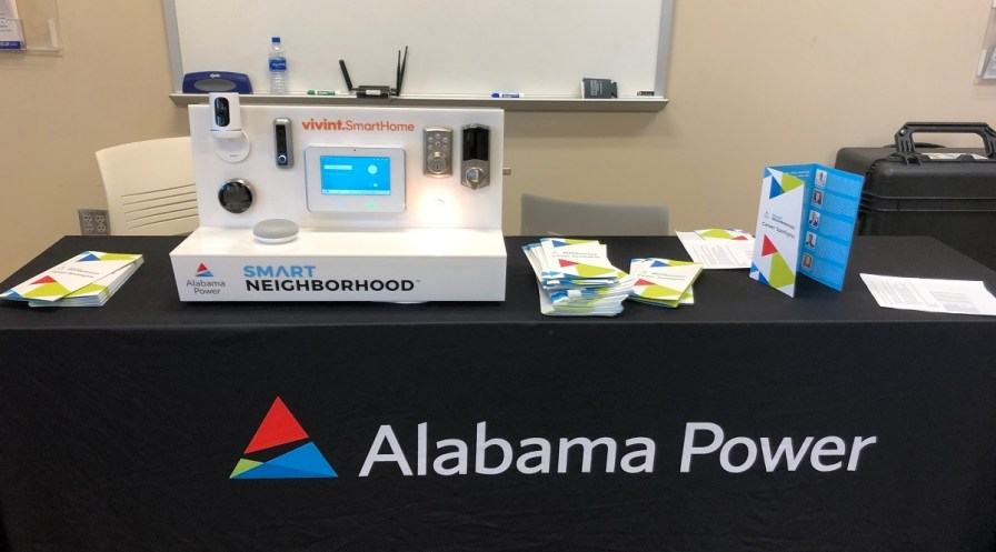 An Alabama Power booth at the Central Alabama Career Discovery Expo features a presentation on the company's Smart Neighborhood program. (Alabama NewsCenter)