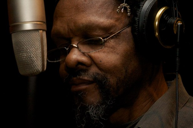 Lonnie Holley in the studio recording his music. (Matthew Arnett)