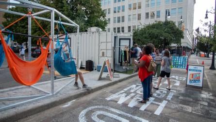 Lounging swings have also been installed at Upswing Birmingham. (Dennis Washington / Alabama NewsCenter)