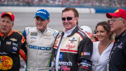 Richard Childress poses for pictures prior to the start of Sunday's 1000Bulbs.com 500. (Dennis Washington / Alabama NewsCenter)