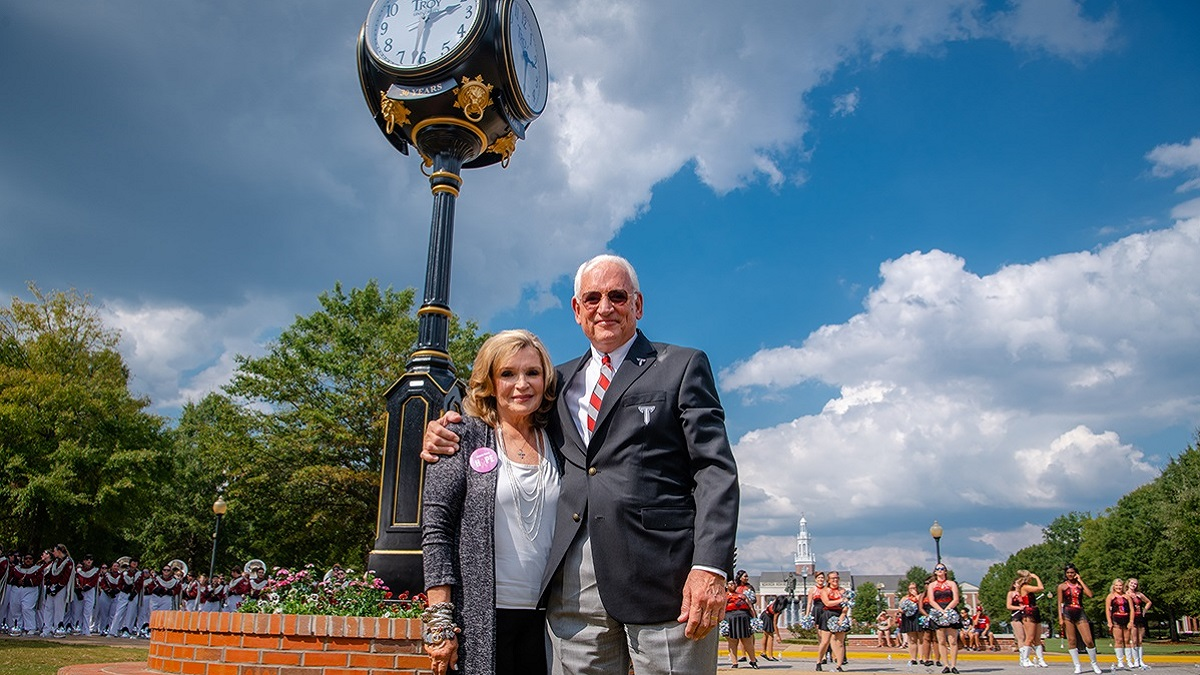 Troy University unveils clock honoring Dr. Jack Hawkins Jr.'s 30 years as chancellor