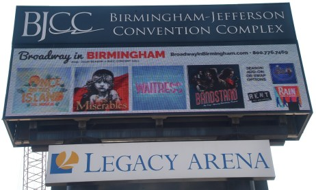 The marquee at the Birmingham-Jefferson Convention Complex in Birmingham features several Broadway touring productions. (Mark Almond/The Birmingham Times)