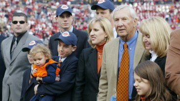 A ceremony honors former Auburn Tigers head coach Pat Dye for his induction to the College Football Hall of Fame during the game against the Alabama Crimson Tide at Jordan-Hare Stadium on November 19, 2005 in Auburn. The field at Jordan-Hare Stadium was also christened Pat Dye Field. Auburn defeated Alabama 28-18. (Photo by Chris Graythen/Getty Images)
