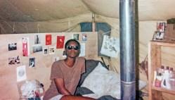 Edna Felton inside her tent in the Saudi Arabian desert. (contributed)