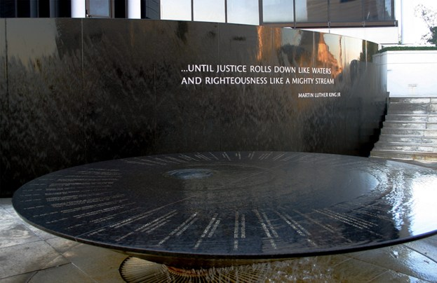 The Southern Poverty Law Center dedicated the Civil Rights Memorial in Montgomery in 1989 to commemorate people who were killed during the civil rights movement. The monument was designed by artist Maya Lin, who also created the Vietnam Veterans Memorial in Washington, D.C. (From Encyclopedia of Alabama, courtesy of the Southern Poverty Law Center)