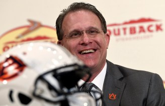 Auburn Head Coach Gus Malzahn meets the press for Outback Bowl week. (Todd Van Emst/AU Athletics)
