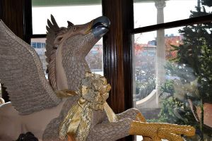 A 'hippogriff' with outstretched wings welcome visitors. (Donna Cope/Alabama NewsCenter)