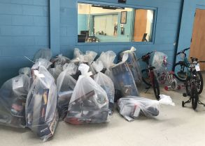 The gym of the Boy's Club in Sylacauga began to fill with gifts from Gaston APSO members on Dec. 9. (Donna Cope/Alabama NewsCenter)