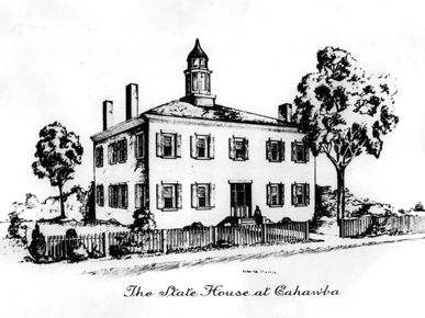 An artist's rendering of the first Alabama state capitol building in Cahaba, Dallas County. Cahaba was established as the first permanent capital of the state in 1820. It remained so until 1826, when the capital was moved to Tuscaloosa. (From Encyclopedia of Alabama, courtesy of Alabama Department of Archives and History)
