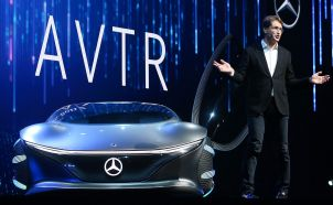 Ola Kallenius, chairman of the Board of Management of Daimler AG and Head of Mercedes-Benz Cars, speaks next to the Mercedes-Benz Vision AVTR concept car during a keynote address at CES 2020 at Park Theater at Park MGM on January 6, 2020 in Las Vegas. (Photo by Mario Tama/Getty Images)