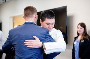 Many medical staff of UAB's Trauma Center celebrated Cole's miraculous return to health. (Bob Shepard/UAB)
