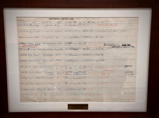 A docket shows the Rev. Dr. Martin Luther King Jr. and other civil rights activists logged into the old Jefferson County Courthouse jail. (contributed)