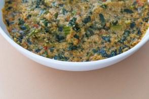 Nigerian fonio acha supper grain porridge prepared with vegetables and fish. (contributed)