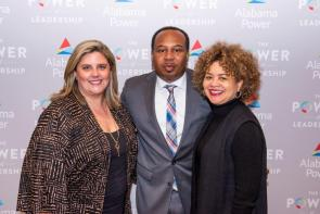 Alison Howell, community relations manager with Alabama Power's Birmingham Division, left, takes a photo with Birmingham native and comedian Roy Wood Jr. and Myla Calhoun, president of the Alabama Power Foundation. (Nik Layman / Alabama NewsCenter)