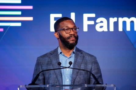 Birmingham Mayor Randall Woodfin speaks at the Ed Farm announcement. (Nik Layman / Alabama NewsCenter)