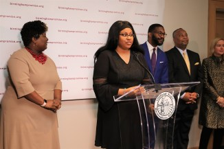 Zahria Brewer, a student intern at Alabama Power, speaks at the announcement of major contributors to Birmingham Promise. (contributed)