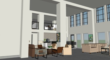 A rendering shows the lobby of the American Life building, which is being renovated into apartments. (Hendon and Huckestein Architects)