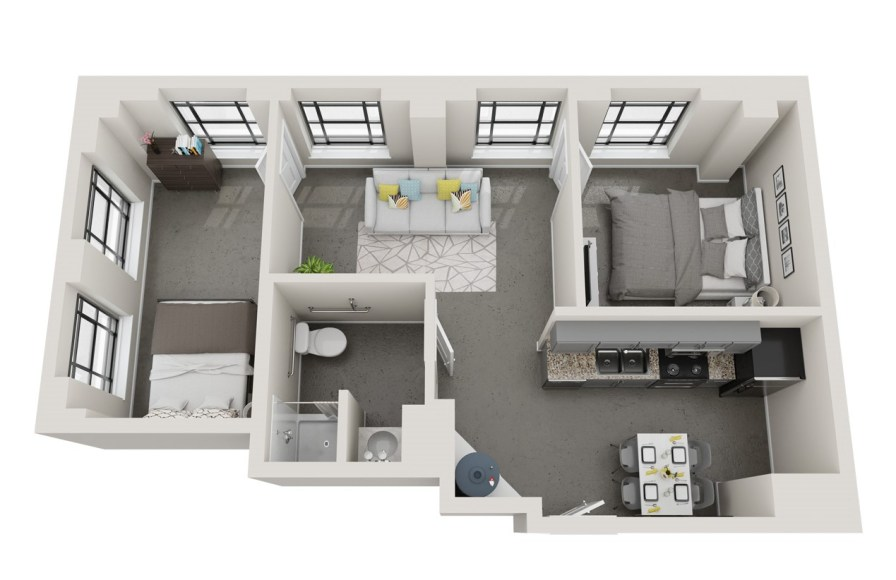 Conceptual floor plans show an Uptown apartment in the American Life building. (Hendon and Huckestein Architects)