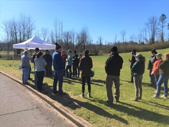 Volunteers gather for a cleanup around Glenn Springs near Bessemer. The work was geared toward improving the habitat for the endangered watercress darter. (Michael Sznajderman/Alabama NewsCenter)