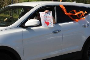 Teachers and staff from Sylacauga's Indian Valley Elementary School parade the city's neighborhoods to let their students know they miss them. (contributed)