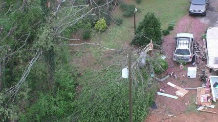 Downed trees and lines have caused outages throughout Alabama attributed to Easter Sunday storms. (Greg Coffey/Alabama Power)