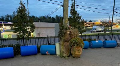 Blue drums held ethanol. (Jeff Honea)