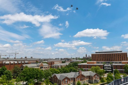 The Alabama National Guard's 187th Fighter Squadron conducted a flyby thanking first responders for their service in Auburn. (Todd Van Emst / AU Athletics)