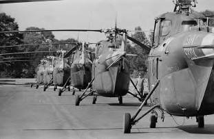Helicopters at the U.S. Army Aviation School at Fort Rucker near Ozark, Sept. 27, 1965. (Image courtesy of Alabama Department of Archives and History. Donated by Alabama Media Group, photograph by Ed Jones, The Birmingham News)