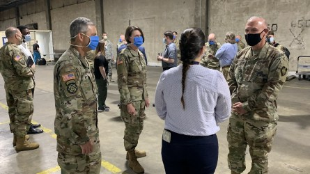 Alabama National Guard leadership toured the Battelle Critical Care Decontamination System. (Mark Jerald / Alabama NewsCenter)