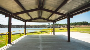 The pavilion provides shade for fish holding tanks during tournament weigh-ins, which reduces stress and increase survival rates of the fish. (Dennis Washington / Alabama NewsCenter)
