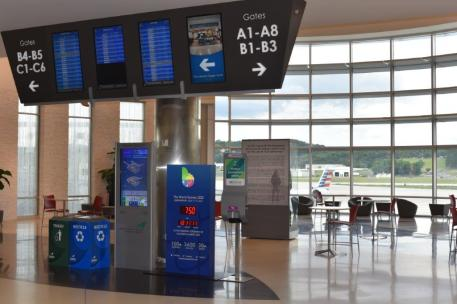 Signage and a countdown clock at the Birmingham-Shuttlesworth International Airport let visitors know of the World Games 2022 coming to the Magic City. (contributed)