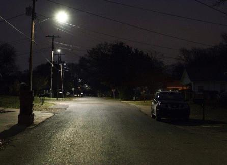 Visibility on a Birmingham street is greatly improved after old streetlights have been replaced with LED lights. Alabama Power will conduct a similar project in Mobile, replacing more than 20,000 streetlights. (Chris Jones/Alabama NewsCenter)