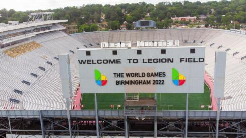 The sign at Legion Field has been updated to reflect the new year for the Birmingham World Games. (contributed)