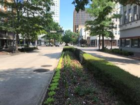 """Long considered to be """"Birmingham's Main Street,"""" 20th Street stretches from Five Points South to Linn Park and is the backbone of downtown's grid. (Michael Sznajderman / Alabama NewsCenter)"""