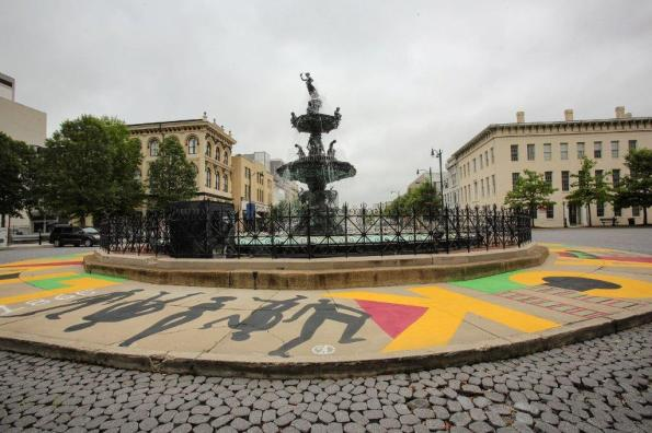 Artist Michelle Browder created the Black Lives Matter mural around the Court Square fountain in Montgomery. The fountain is the site of a former slave auction. (Meg McKinney / Alabama NewsCenter)