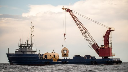 Three old Alabama Power storage tanks were deployed Thursday as an artificial reef in the Gulf of Mexico. (Dennis Washington / Alabama NewsCenter)