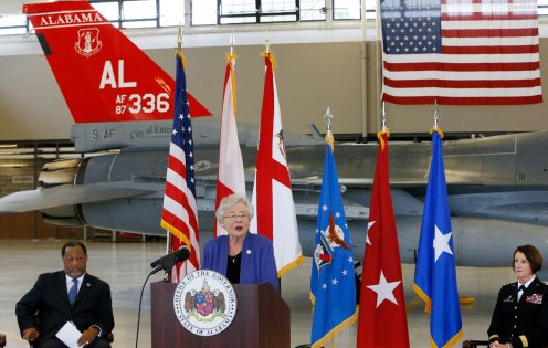 Alabama Gov. Kay Ivey joined state, military and local officials in December 2017 to celebrate the Alabama Air National Guard being chosen for the F-35 program. (Hal Yeager/Governor's Office)