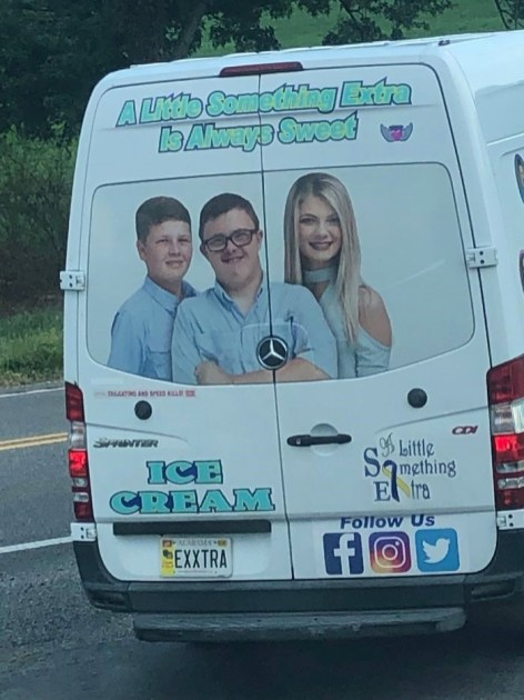 The back of the ice cream truck displays a photo of Hunter with his siblings, Brodie and Hope. (Courtesy of Michelle Norwood)