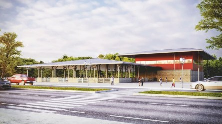 Artist's rendering of the Farm Center's sheep/swine barn and small animal judging arena. (JMR+H Architecture)