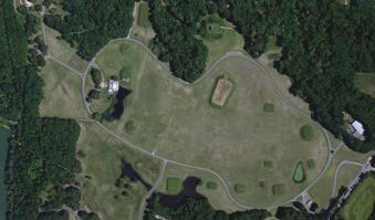 A high-resolution satellite image of the Alabama archaeological site of Moundville. (GlobalXplorer)