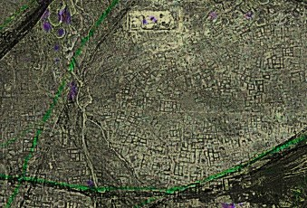 A highly processed satellite image of the ancient Egyptian city of Tanis, of Indiana Jones fame, showing the never-before-mapped individual buildings and streets in great detail. (GlobalXplorer)