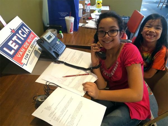 Girls phonebanking