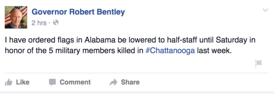 Robert Bentley flags half staff