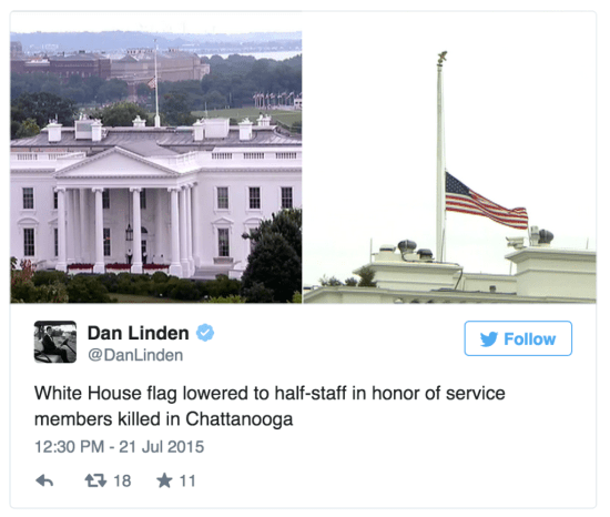White House flags half staff TN