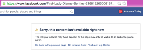 First Lady Dianne Bentley missing Facebook page