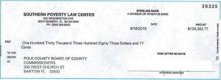 Southern Poverty Law Center check to Polk County